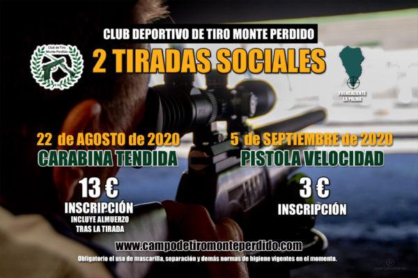 Cartel 2 Tiradas Sociales Carabina Tendida y Pistola Velocidad · Club Deportivo de Tiro Monte Perdido · Fuencaliente La Palma